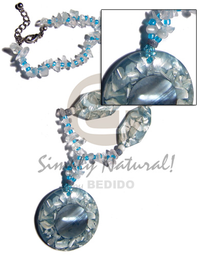 Native crystal nuggets 40mm shell womens necklace