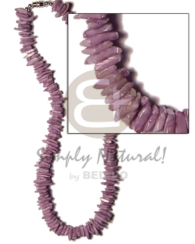 Ethnic white rose dyed lilac womens necklace