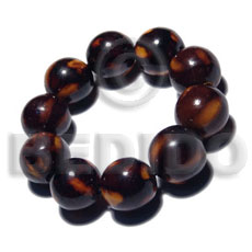 Unisex 10 pcs. of 20mm round wood bracelets