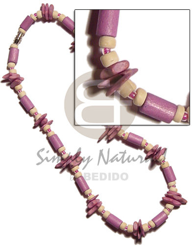 Ladies lilac wood tube matching wood necklace