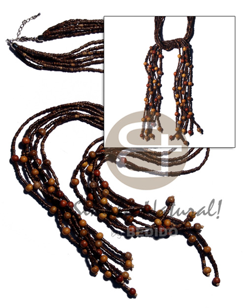 Teens scarf necklace - 6 rows wood necklace