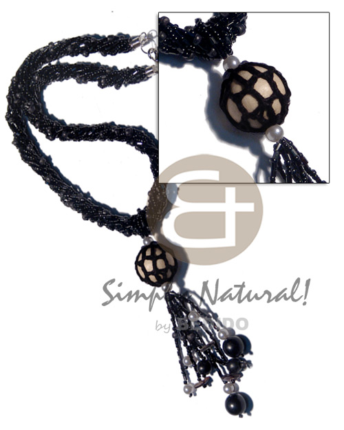 Ethnic twisted 9 rows black cut wood necklace