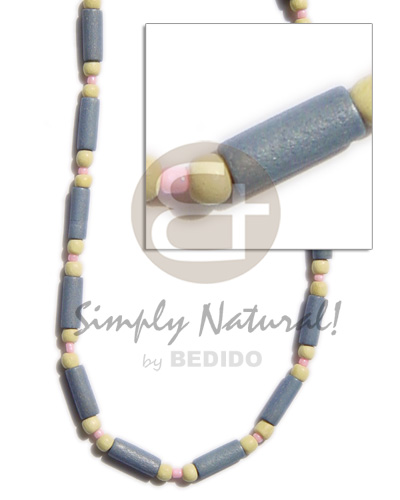 Unisex pastel blue wood tube wood necklace