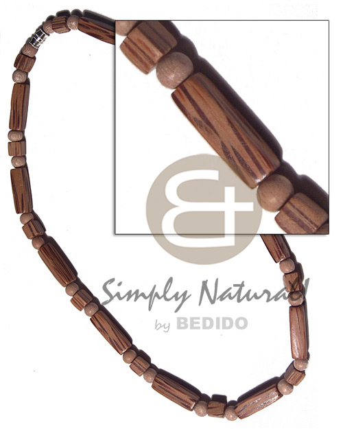 Philippine 20mmx6mm palmwood flat sided wood wood necklace
