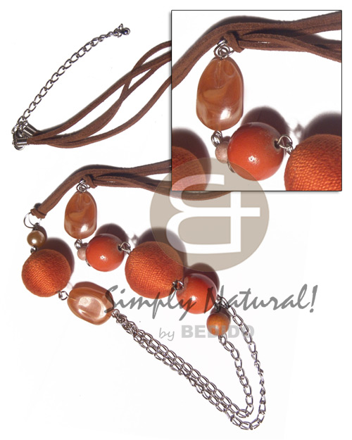 Wholesale 2 rows brown leather thong wood necklace