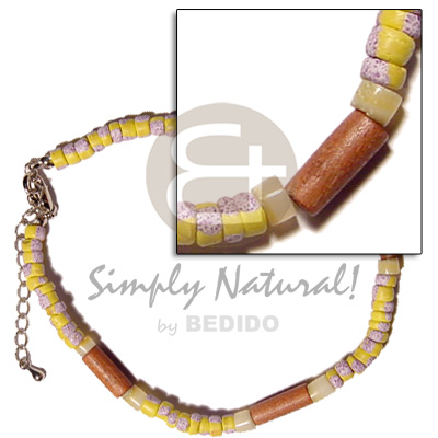 Unisex 4-5mm yellow coco splashing wooden anklets