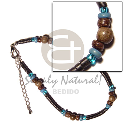 Ladies 2-3mm black coco heishe wooden anklets