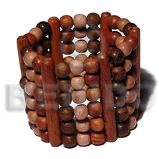 Native elastic 6 rows 8mm wood wooden bangles