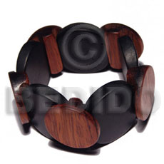 Natural elastic overlapping round wood bangle wooden bangles