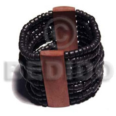 Ethnic elastic 10 rows 4-5mm coco wooden bangles