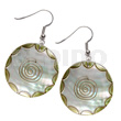 Philippine dangling 35mm round kabibe shell embossed art deco earrings