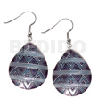 Natural dangling 35mmx30mm teardrop kabibe shell hand painted earrings
