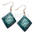 Wholesale dangling 40mmx30mm diamond kabibe shell hand painted earrings