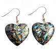 Wholesale dangling heart 35mm laminated paua resin earrings