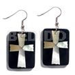 Unisex dangling 40mmx27mm rectangular black resin resin earrings