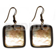 Philippines dangling 30mmx30mm square brownlip shell earrings