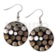Ethnic dangling flat 35mm black round shell earrings