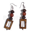 Philippines dangling 30mmx20mm rectangular laminated golden shell earrings