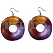 Teens dangling 35mm round wavy wood wood earrings