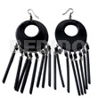 Ladies dangling 50mm round natural black wooden earrings
