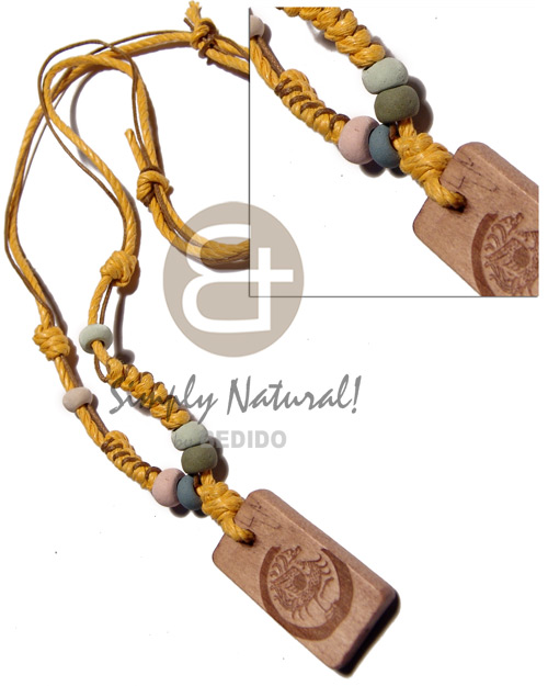Native 4 layers wax cord in adjustable necklace