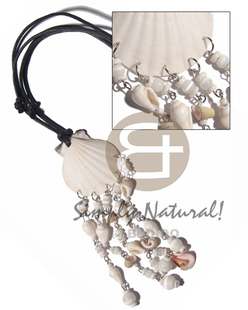 Natural white limpet shell dangling adjustable necklace