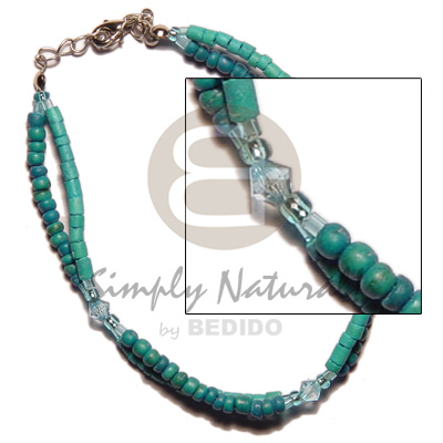Fashion 2 rows green tones 2-3 anklets