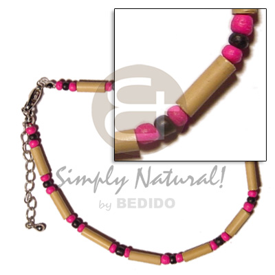 Ladies bamboo 2-3mm black pink coco anklets