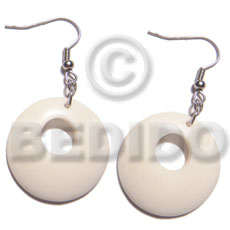 Ladies dangling round 35mm carabao horn bone earrings horn earrings