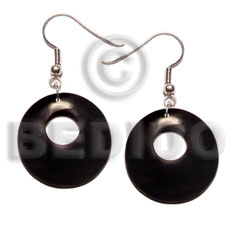 Teens 35mm round black horn bone earrings