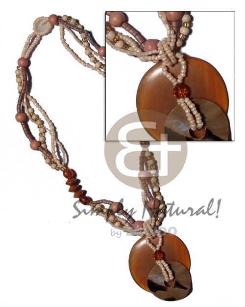 Ladies 50mm round amber horn bone necklace horn necklace