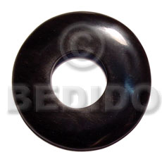 Natural 60mm black horn donut bone pendants