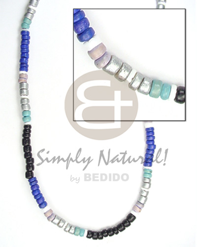 Native 4-5mm silver light and dark blue bright & vivid color necklace