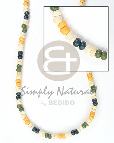 Handmade 2-3 mm green white blue yellow coco pokalet bright & vivid color necklace