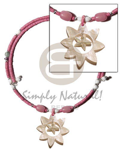 Teens old rose 2-3mm coco heishe bright & vivid color necklace