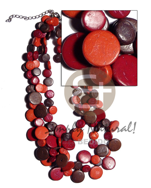 Wholesale 3 layers 10mm and 15mm bright & vivid color necklace