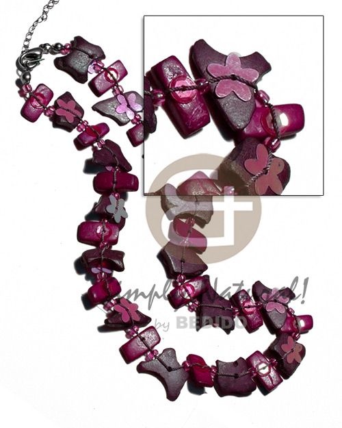Fashion floating coco chips glass bright & vivid color necklace