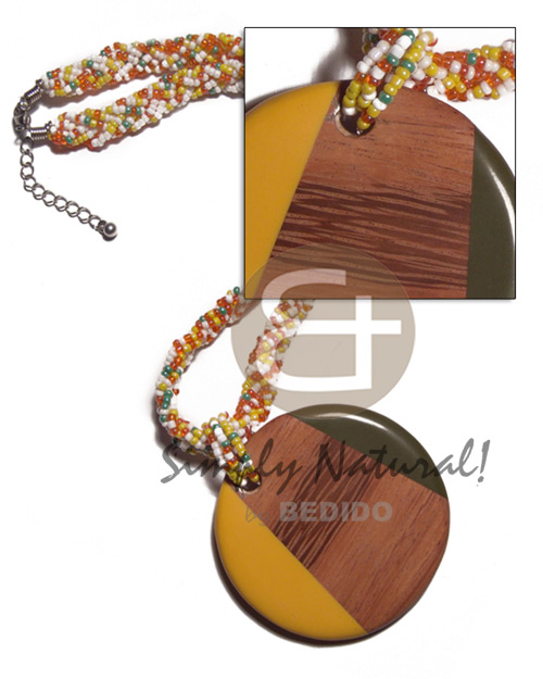 Fashion round 60mm patched bayong wood bright & vivid color necklace
