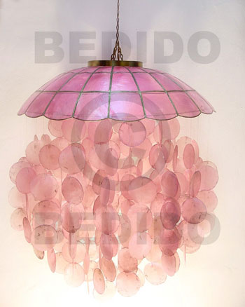 Ethnic parisian old rose capiz shell capiz shell wind chimes