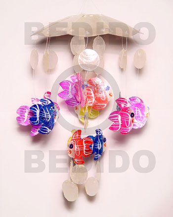 Ladies umbrella 8 petals micromini capiz shell wind chimes