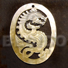 Philippine oval mop dragon carving 45mm carved pendants