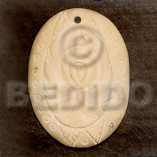 Wholesale oval melo carving 40mm carved pendants