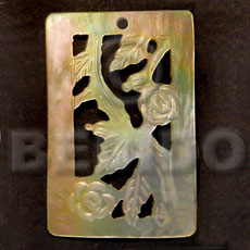 Natural rectangular floral carving mop 40mm carved pendants