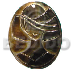 Philippines oval black lip tiger carved pendants