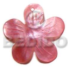 Ethnic 40mm pink flower hammershell carved pendants