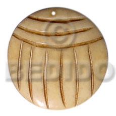 Native 40mm round grooved natural white carved pendants