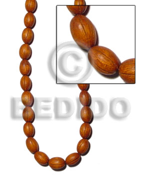 Philippines bayong oval groove 12mmx17mm carved wood beads