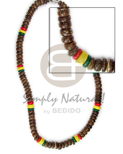 Handmade 7-8mm coco pokalet rasta design choker necklace