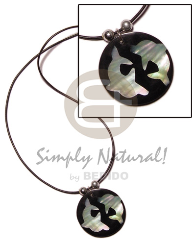 Native round 40mm inlaid hammershell twin choker necklace