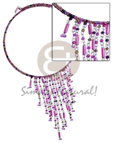 Philippine dangling lavender tones glass beads choker necklace